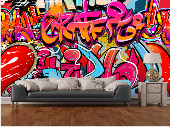 Custom 3D persoonlijkheid behang, hip hop graffiti muurschilderingen ...