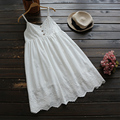 Japanese Cute Commute Cotton Lace Sleeveless Dress Women Lolita Embroidery Spaghetti Strap Female Vestido Princess Dress U564