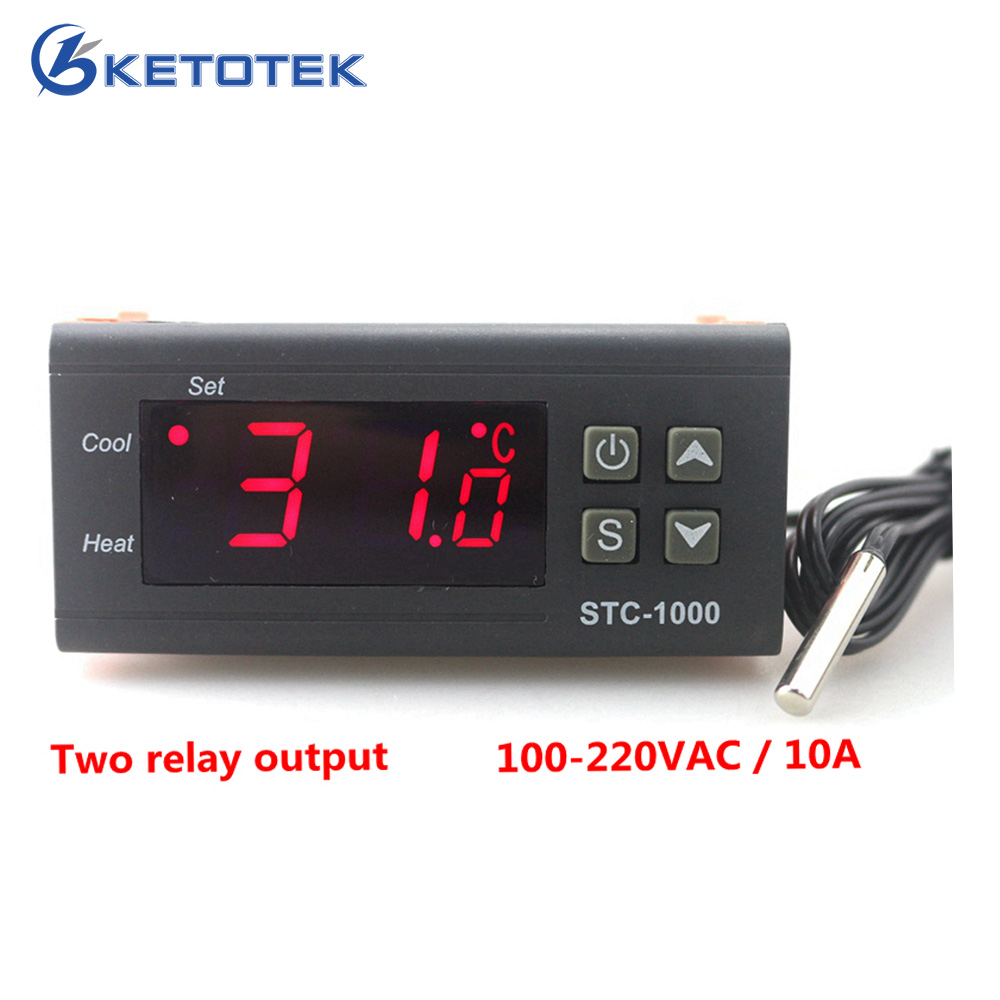 Ketotek Two Relay Output LED Digital Temperature Controller Thermostat Incubator STC-1000 110V 220V 12V 24V 10A Heat Cool