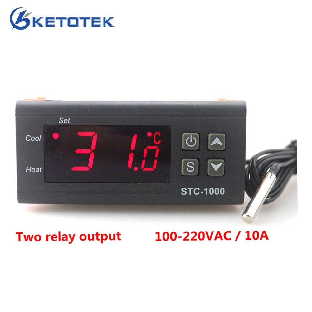 Ketotek dos relé salida LED controlador Digital termostato incubadora STC-1000 110 V 220 V 12 V 24 V 10A calor frío
