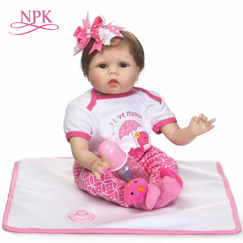 NPK 55cm Silicone Reborn Baby Doll kids Playmate Gift For Girls 22 Inch Baby Alive Soft Toys For Bouquets Doll Bebe Reborn
