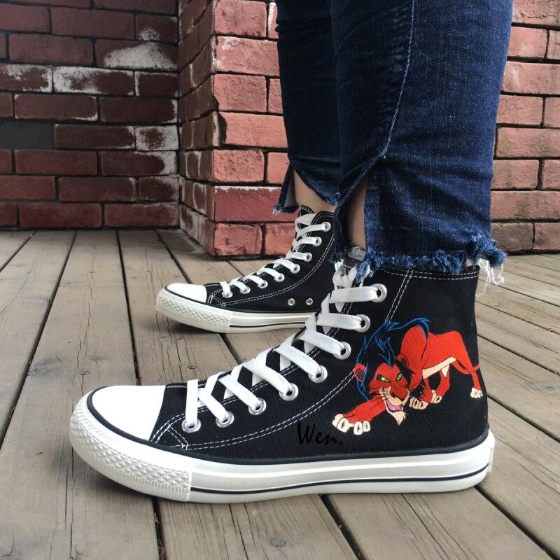 Aggressiv Wen Männer Frauen Handgemalte Schuhe Design Benutzerdefinierte Tier Löwen Schwarz High Top Männer Frauen Leinwand Turnschuhe