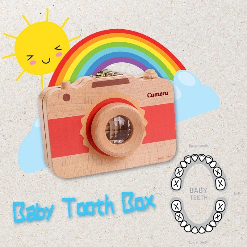 Hot Selling Children Camera Shape Tooth Wood Box Organizer Baby Save Milk Teeth Storage Case