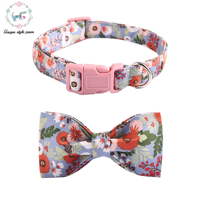 caa5fbb94759 The Pink Floral Dog Collar with Bow Tie for big and small dog cotton fabric  Pet Accessories Cotton Dog Collar and Leash Sets