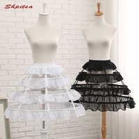 Schwarz oder Weiß 3 Hoop Kurze Petticoats für Hochzeit Lolita Rockabilly Mädchen Flauschigen Frau Unterrock Krinoline Pettycoat Hoop Rock