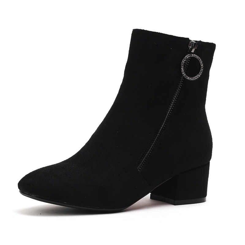 NEMAONE 2019 med topuklu bayanlar düğün botları ilkbahar sonbahar kadın yarım çizmeler kırmızı siyah moda ayakkabılar kadın büyük boy 43