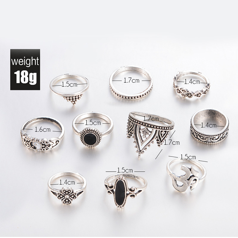 10 Pcs Set Retro Carved Ring Bohemian Midi Ring Set Crown Vintage Anillos Knuckle Rings For Women Statement Jewelry Charm Bijoux in Wedding Bands from Jewelry Accessories