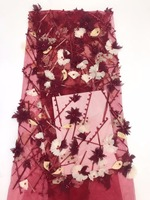 3D цветы кружевной ткани 2018 Высокое качество вышитые бисером тюль кружевной ткани красного цвета в африканском стиле кружевной ткани для Дл
