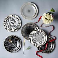 6 / 8 /10 inch tableware Phnom penh geometry tableware ceramic Dinner Plate dish porcelain dessert plate dinnerware cake plate