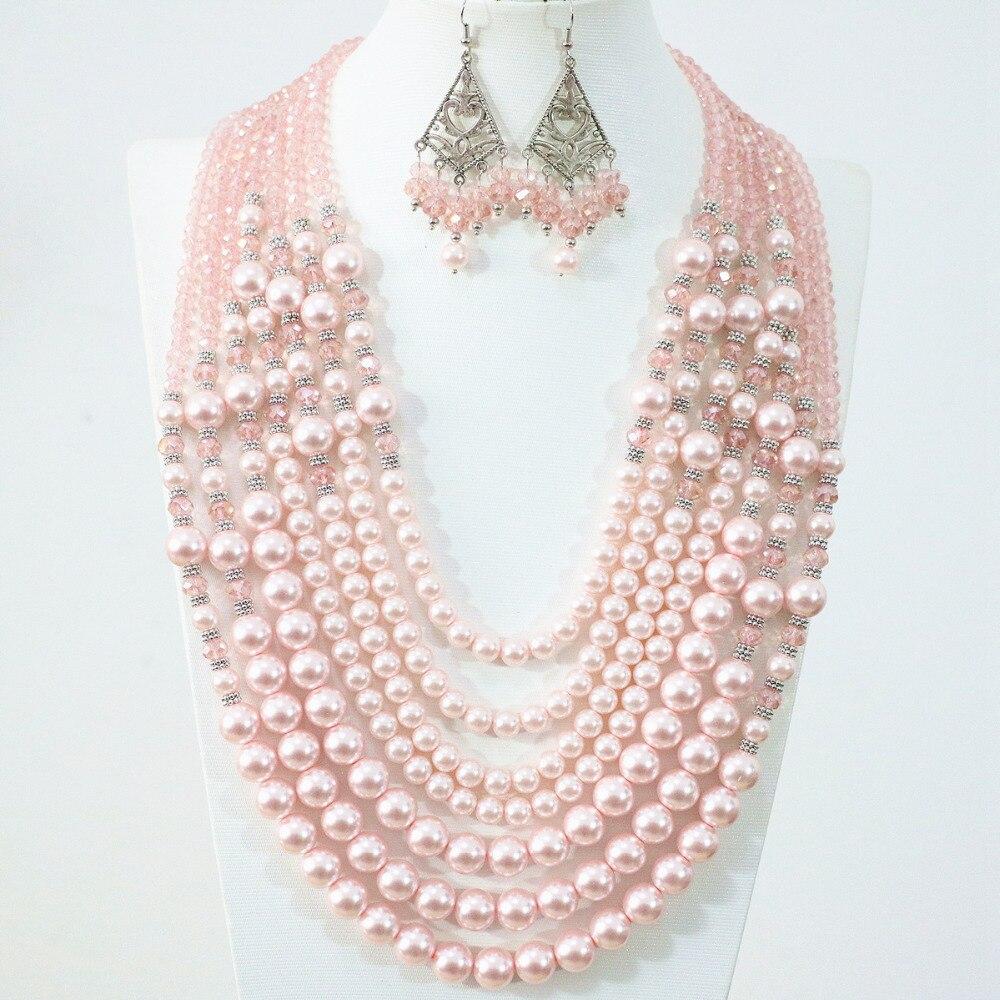 Новый дизайн, 7 рядов, ожерелье, серьги, Розовая Круглая оболочка, имитация жемчуга, стеклянные бусины, Подвески, уникальный женский ювелирны