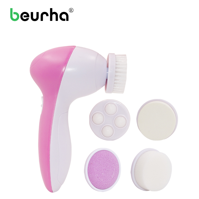 HOT!!!1set 5 in 1 Electric Wash Face Machine Facial Pore Cleaner Body Cleaning Massage Mini Skin Beauty Massager Brush Wholesale 7 in 1 electric facial cleanser face and body nursing cleaner electric device skin scrubber face skin brush massage deep clean