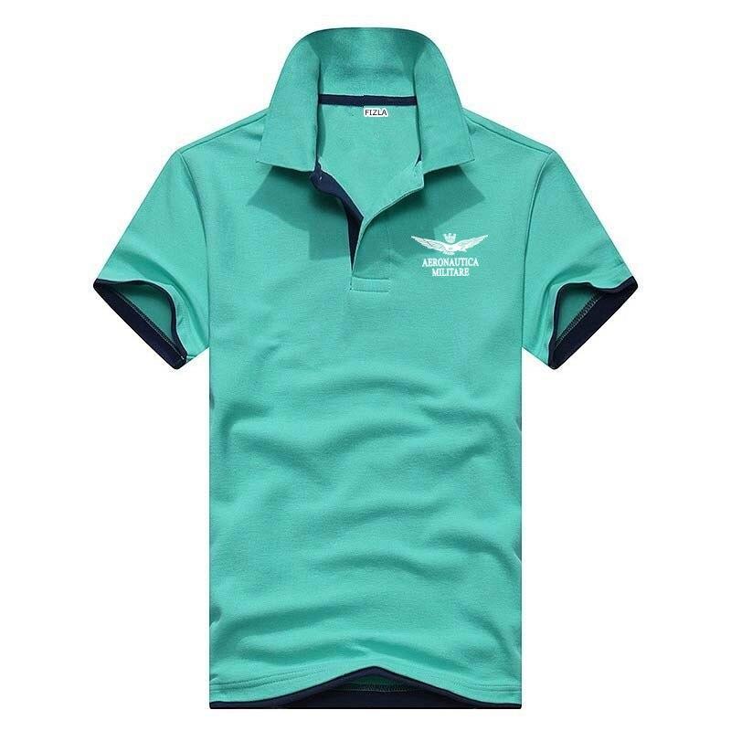 deca523466 2018 Verão Novo Marca POLO Aeronautica Militare Air Force One Homens de  Negócios Polo Casual Camisas