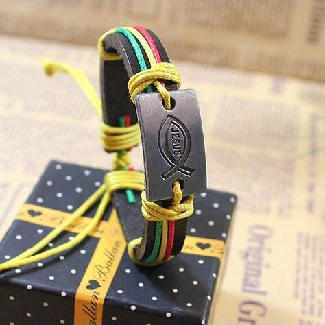 Kirykle-bracelet en cuir fait de ficelle colorée pour hommes et femmes, à breloque, Vintage, bijoux chrétiens, idée cadeau, jésus poisson, religion 4