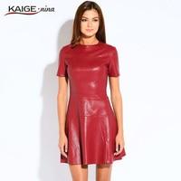 KAIGE NINA Women Fashion PU Leather Dress A Line O Neck Black Dress Casual Mini Dress