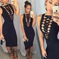 2017 new summer hot sale women sexy dress back zipper sleeveless deep v metal lace tie noble bodycon dress vestidos