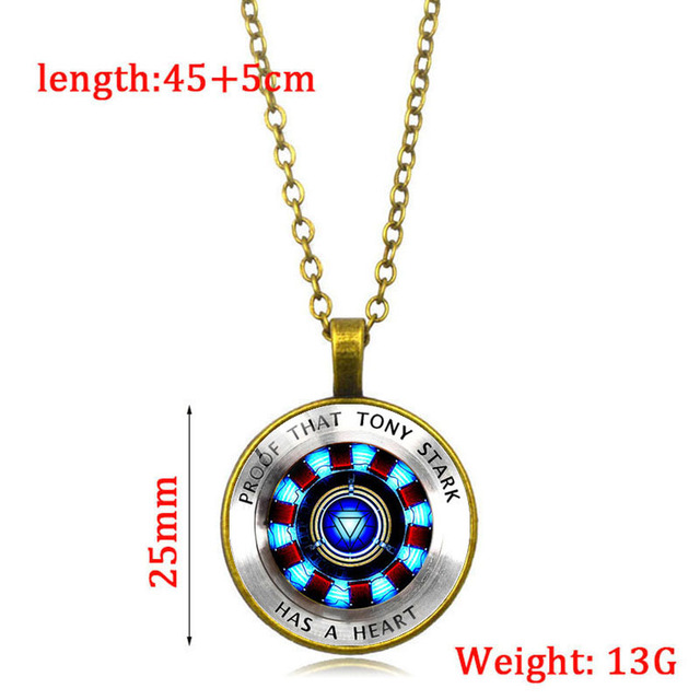 Iron Man Heart Time Toys Gemstone Necklace Poly Energy Glass Cabochon Pendant Marvel Tony Stark Arc Reactor Avengers arc reactor