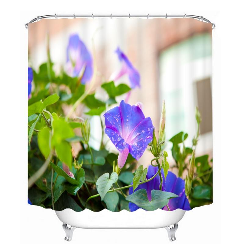 MYRU 3D Print Waterproof Flower Shower Curtains Bath
