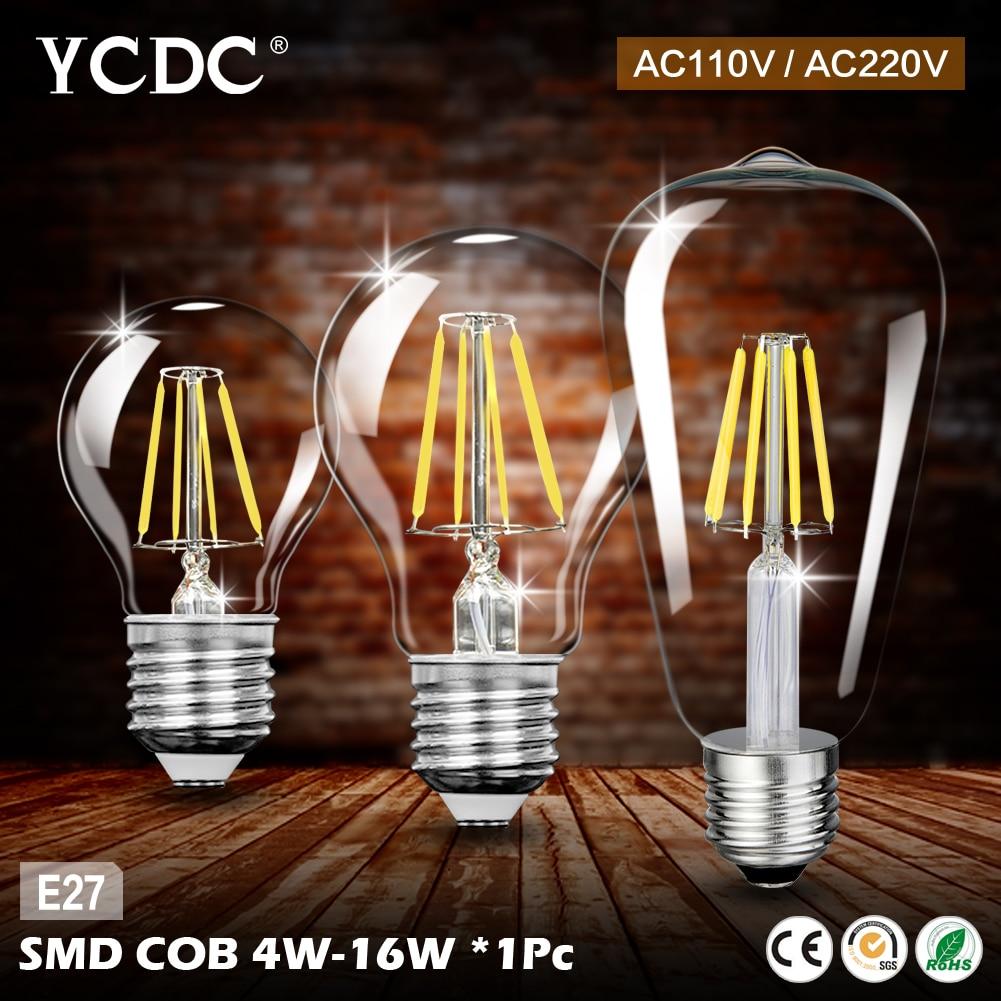 Vintage edison bulb old fashioned lamp classic a60 led 2w or 4w - Ycdc E27 Led Lamp 4w 8w 12w 16w Vintage Edison Cob Filament Home Lighting Retro Led