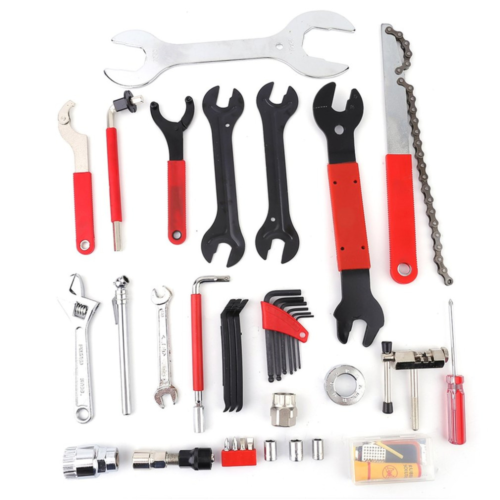 44pcs Bike Cycling Bicycle Maintenance Repair kit Freewheel Spanner Hand Wrench Lock Ring Tool Kit Box Case Russian US warehouse 44pcs set mountain bike patchs maintenance repair box diagnostic tools kit valuables cycling chain case bicycle accessories