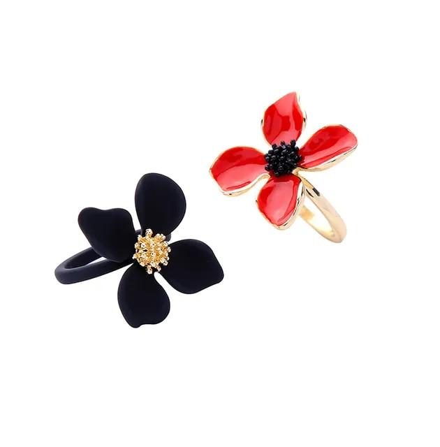 Fashion 2019 Rings for Women Fashion Zinc Alloy Enamel Flower Ring Female Popular gold flower red ring woman Jewelry