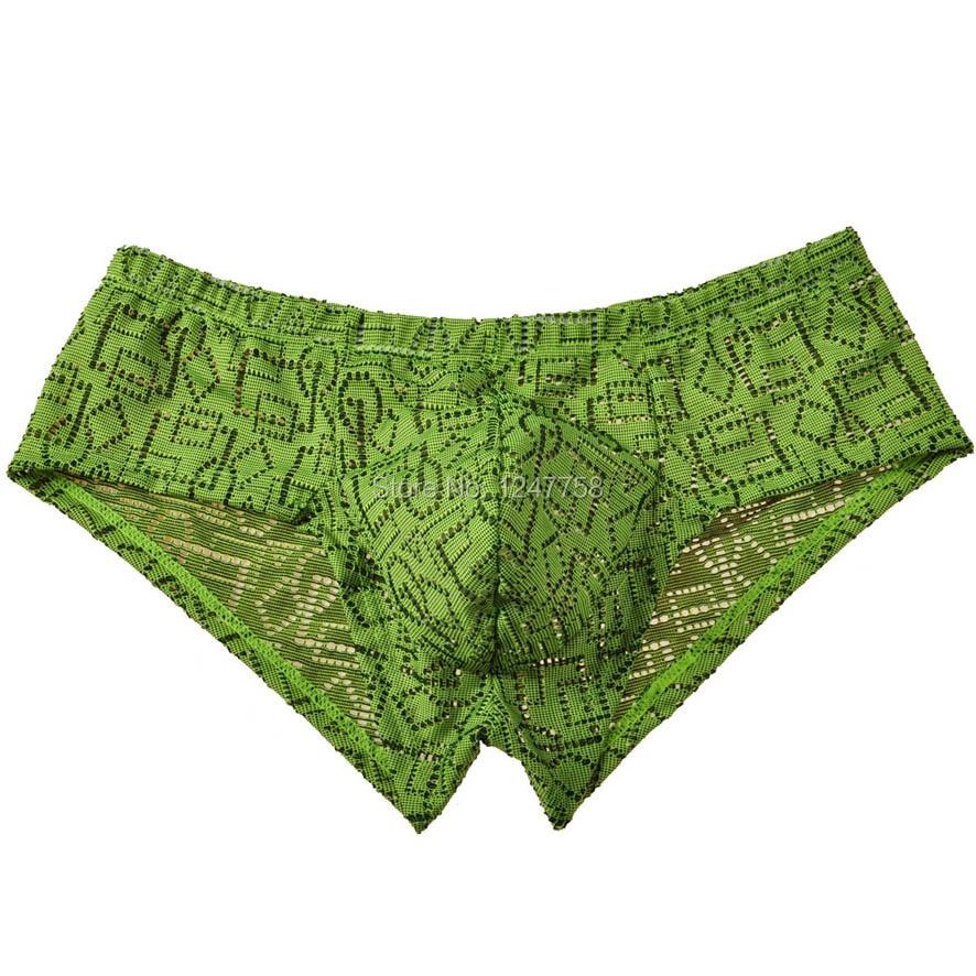 Men Mini Trunks Pants Hollow Pattern Bikini Boxer  Underwear Jacquard Boxer
