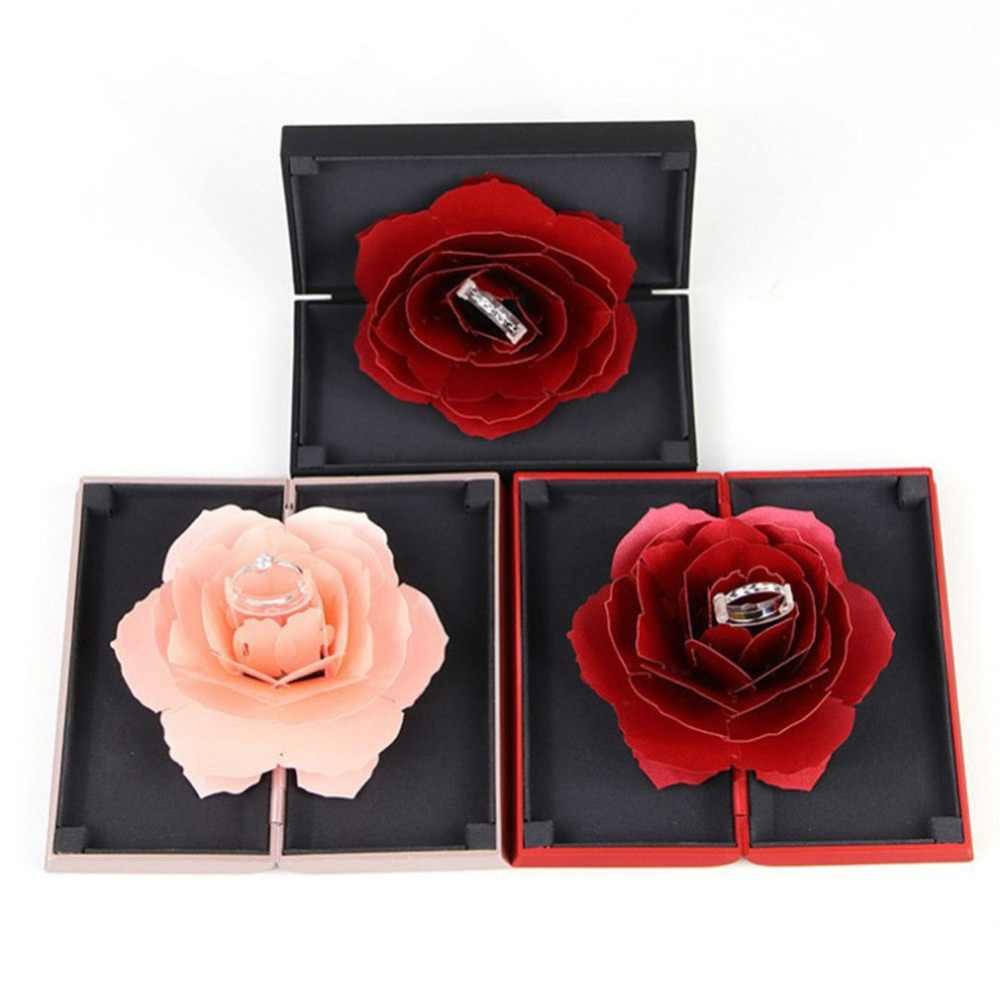 2019 ใหม่พับ Rose กล่องแหวนสำหรับสตรี 2019 Creative Jewel เก็บกระดาษขนาดเล็กของขวัญกล่องสำหรับแหวน