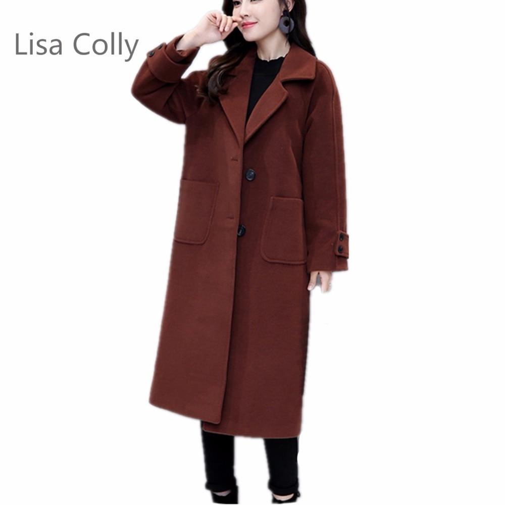 Femelle marron Manteau Printemps Cachemire Noir Dames Vintage Lisa Colly Longues Manches Pour Chaud Femmes Automne Laine 2018 n84xfqw1g