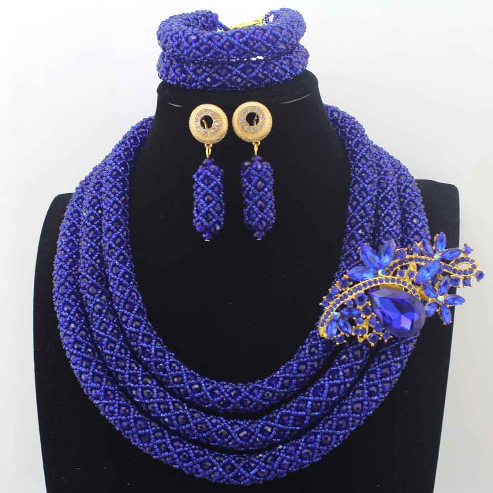 Stylish Royal Blue Nigerian Wedding African Beads Jewelry Set Handmade Indian Dubai Bridal Necklace Sets Free Shipping HD8632
