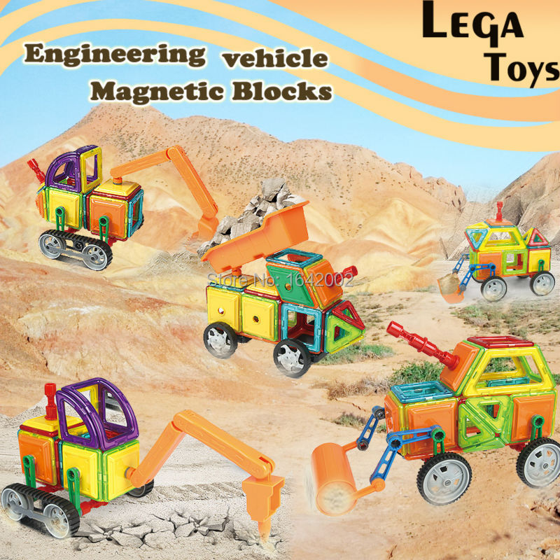 162PCS Magnetic Designer DIY Engineering truck Model Building Construction Assemble Magnetic Blocks Educational Toys For Kid александрова н дорогая я женюсь на львице