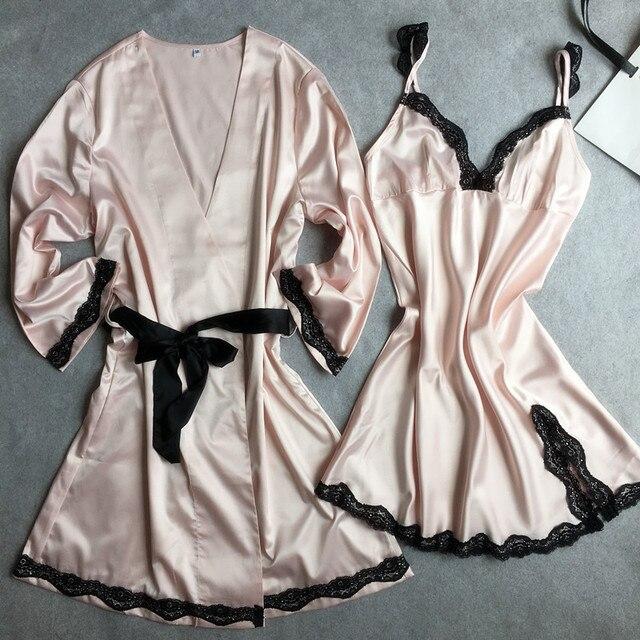 Tainy 2017 New Women Lace Silk Soft Matte Satin Sleep Nightdress Robe Sets