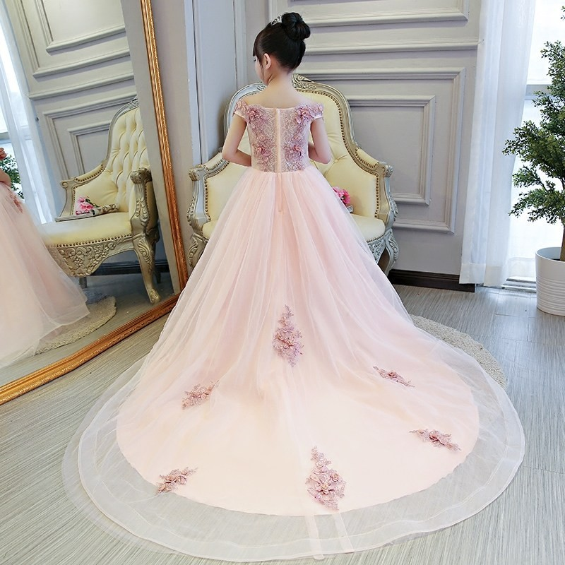 Dollbling Shoulderless Wedding Dress Long Trailing Party Tulle Princess Birthday Dress Christmas Gown First Communion Dresses