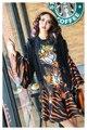 Melinda estilo 2017 de las nuevas mujeres casual dress patrón de cartón y la impresión flare mangas dress envío gratis