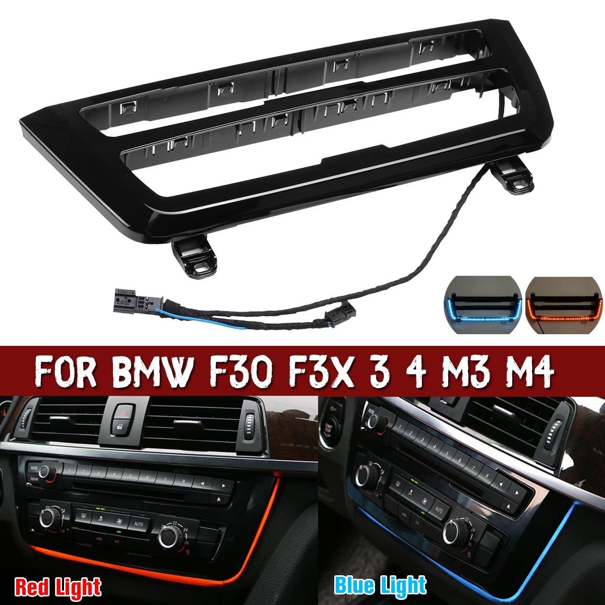 Lumière d'ambiance pour BMW M3 M4 3 4 LCI garniture Radio tableau de bord LED Console centrale AC panneau lumière bleu Orange 2 couleur lampe