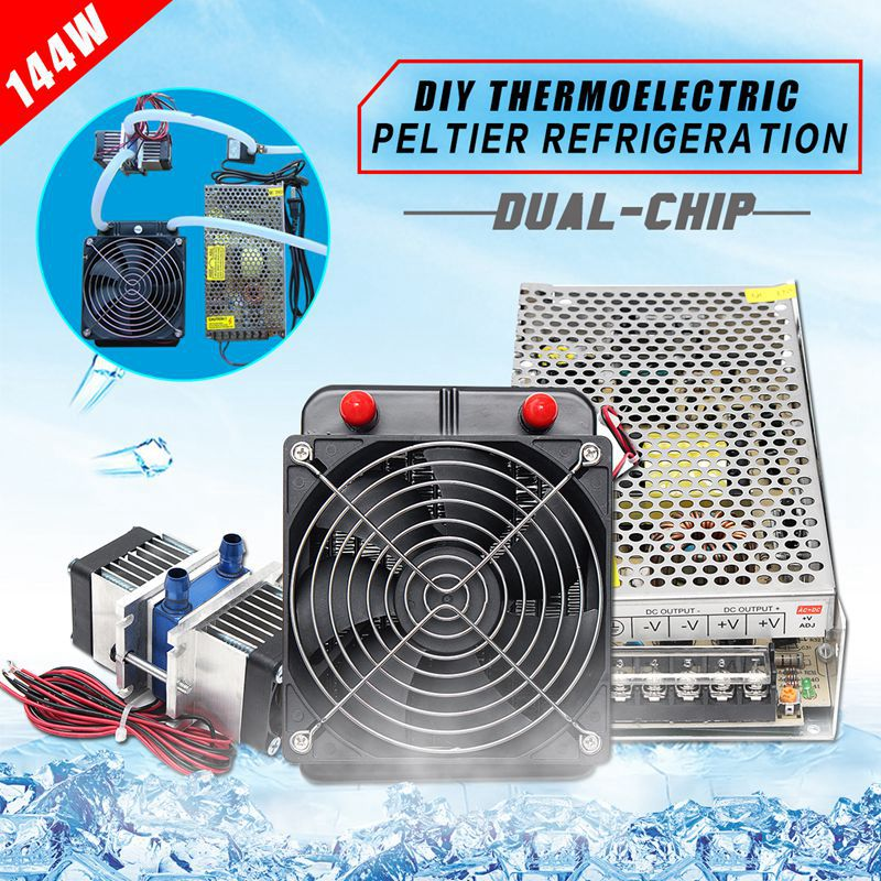 144W Semiconductor Refrigeration Thermoelectric Peltier Dual Chip Cooling System US Plug Computer water Cooling Cooler For CPU thermoelectric semiconductor refrigeration refrigeration tec1 04903 25 25mm
