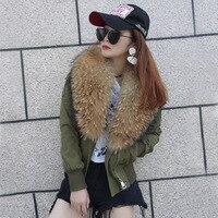 Korean Style New 2017 Winter Women Fashion Slim Big Real Raccoon Fur Collar Short Coats Jackets Female Casual Army Green Outwear