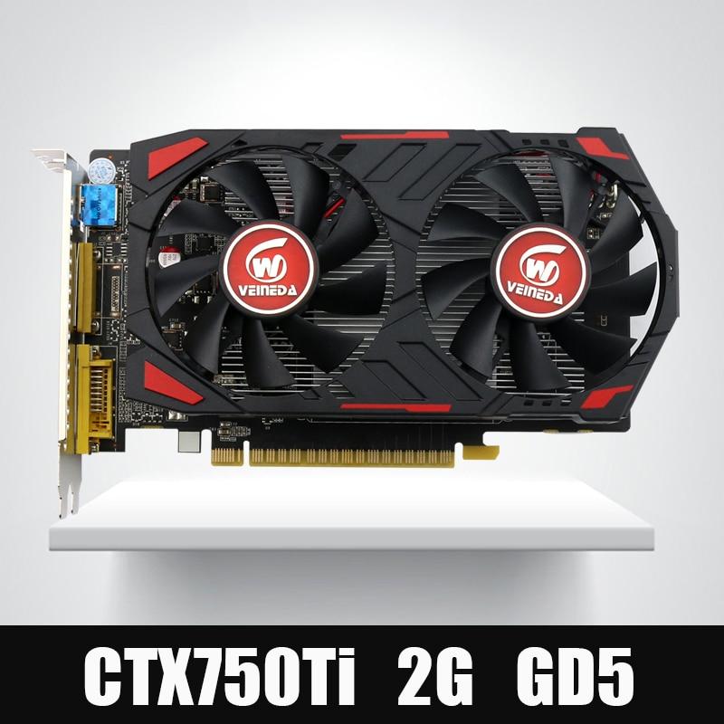 Veineda GTX750Ti 2 GB Cartões de MEMÓRIA GDDR5 Gráficos Placa de Vídeo GPU Originais InstantKill R7 350, HD6850 para nVIDIA Geforce jogos