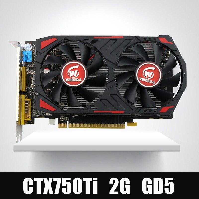 Veineda GTX750Ti Tarjeta de Vídeo Original GPU 2 GB GDDR5 Gráficos Tarjetas InstantKill R7 350, HD6850 for nVIDIA Geforce juegos