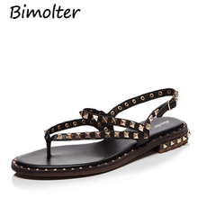 Bimolter 2018 Genuine Leather Fashion Gladiator Sandals For Women Casual Rivet Flat Shoes Ladies Rome Style Sandal LSSB009