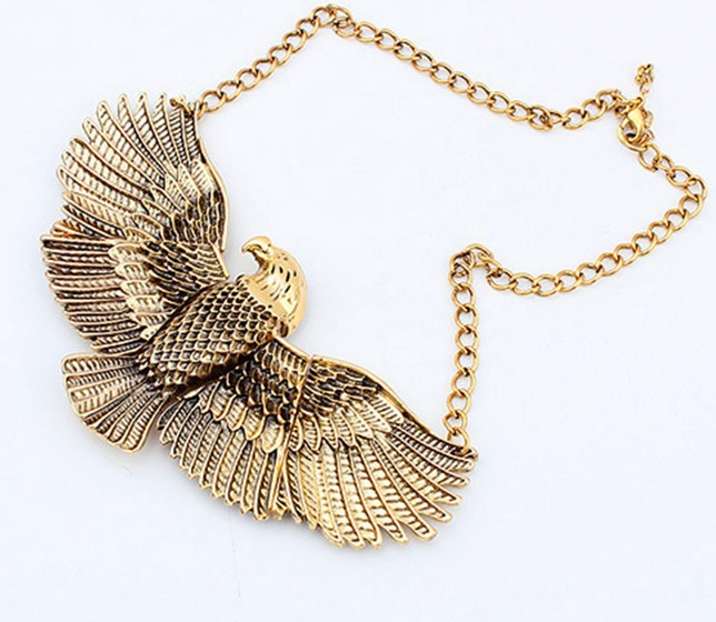 2016 Fashion Punk Metal Vintage Antique Gold Silver Carved Eagle Wings Choker Necklaces Pe
