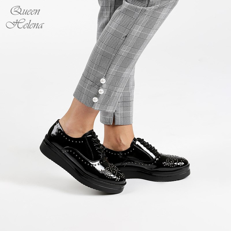 Queen Helena Brogues Wedge And Studs