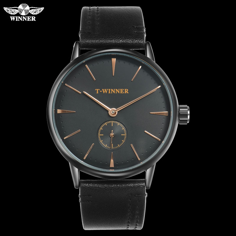 T-WINNER Clock Mechanical-Watches Leather-Band Hand-Wind Forsining Man Waterproof Luxury Brand