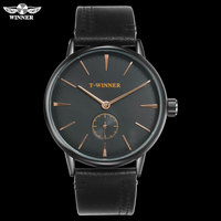 T WINNER Men Mechanical Watches Winner top luxury brand hand wind stainless steel leather band forsining man waterproof clock