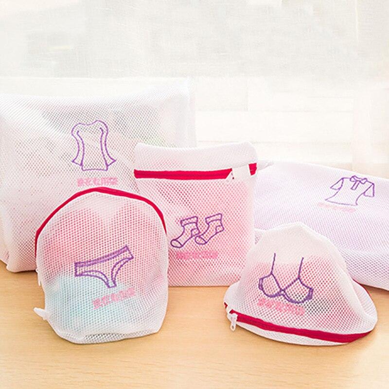 Zippered Mesh Laundry Wash Bags Foldable Delicates Lingerie Bra Socks Underwear Washing Machine Clothes Protection Net Basket