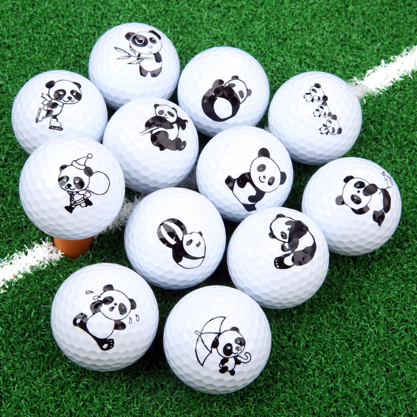 1 Pc Cute Cartoon Panda Golf Ball Double Layer Synthetic Rubber Golf Practice Balls Gift Balls For Golf Range & Training 42.67mm