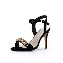YANSHENGXIN Metal Chain Women's Summer Shoes Slingback Sexy High Heels Sandals Female Footwear Women Open Toe Ankle Strap Shoes все цены