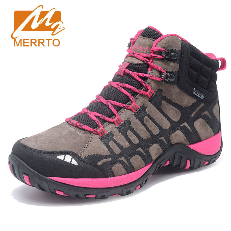 MERRTO New Women's Hiking Boots Outdoor Sports Hunting Shoes Climbing Shoes Winter Trekking Sneakers Breathable Chaussure yin qi shi man winter outdoor shoes hiking camping trip high top hiking boots cow leather durable female plush warm outdoor boot