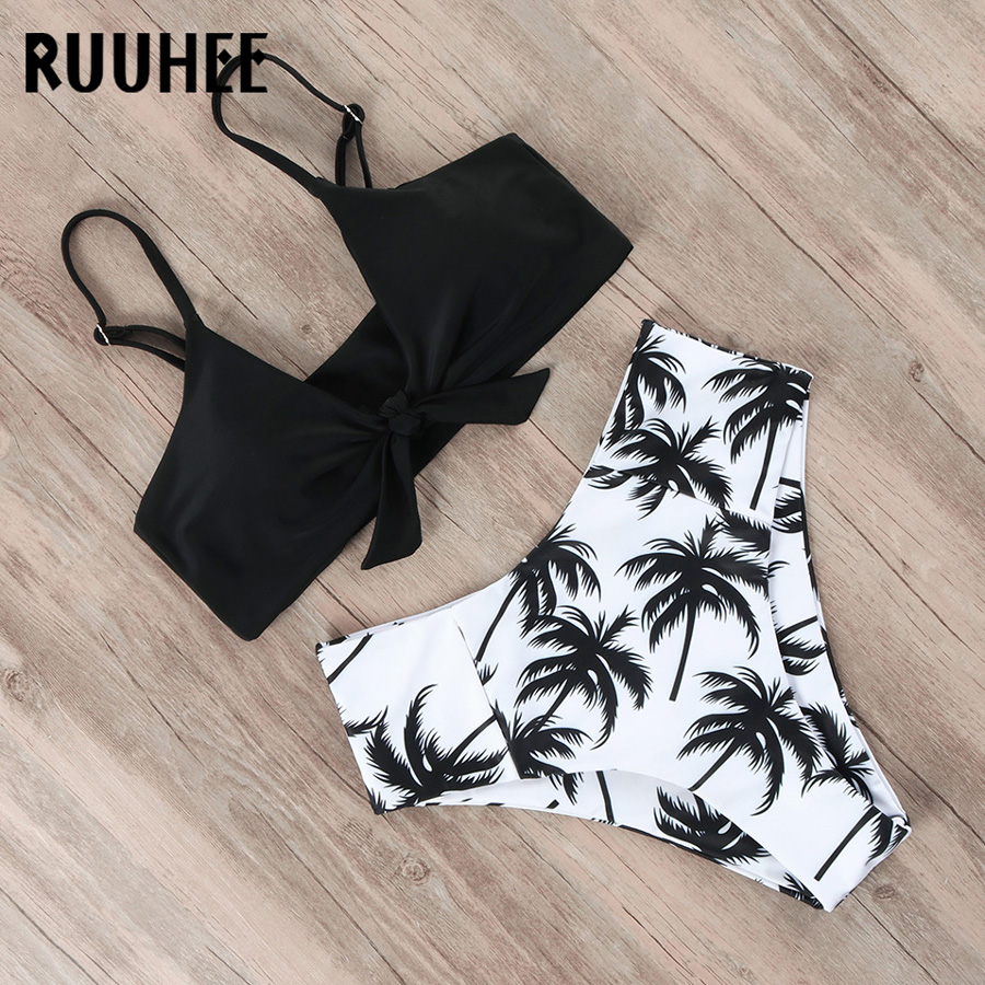 RUUHEE Bikini Swimwear Women Swimsuit 2019 High Waist Bikini Set Push Up Front Knot Bathing Suit Innrech Market.com