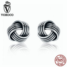 VOROCO Authentic Popular 925 Sterling Silver Weave Classic Push-back Stud Earring Women Fine Jewelry brinco VSE011 popular 925 sterling silver 5 colors square cubic zirconia stone austria crystal classic clip earring women jewelry brinco