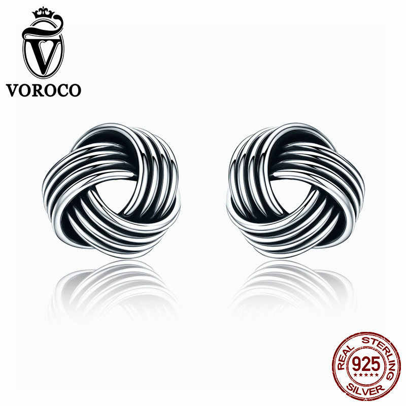 989040671 VOROCO Authentic Popular 925 Sterling Silver Weave Classic Push-back  Twisted Stud Earring Women Fine