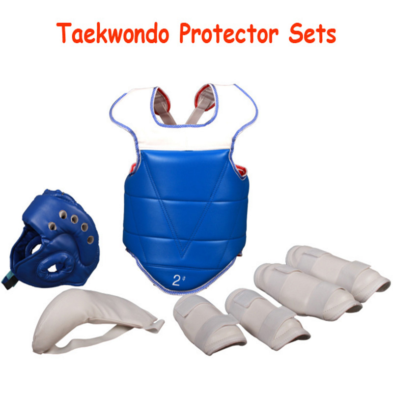 Taekwondo Protector 5pcs/set PU Judo Helmet WTF Itf Body Chest Crotch Guard Karate Equipment Legging GearTaekwondo Protector 5pcs/set PU Judo Helmet WTF Itf Body Chest Crotch Guard Karate Equipment Legging Gear